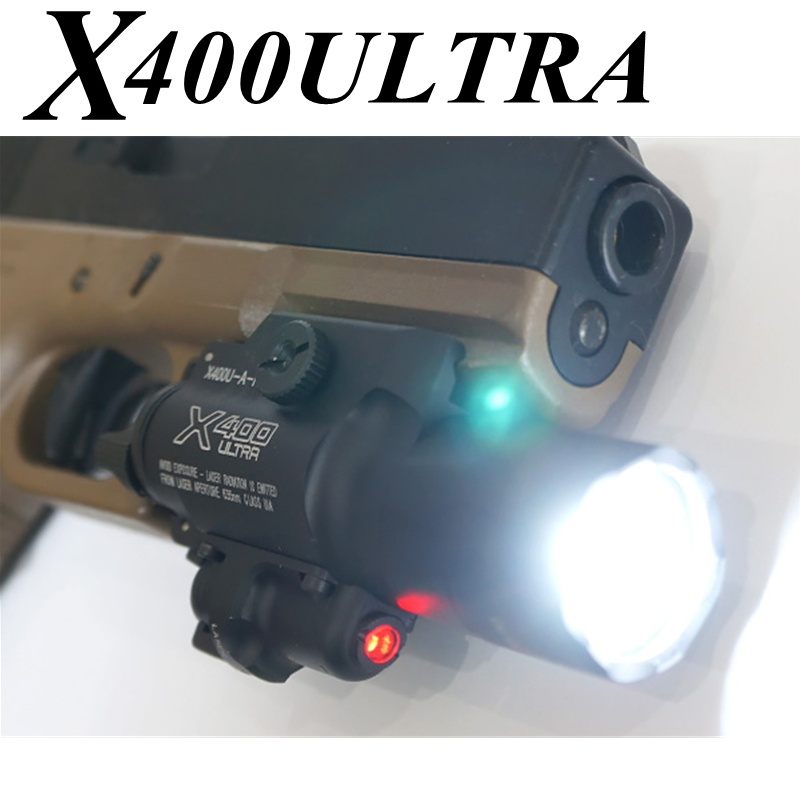 US $72 85 10% OFF|Tactical X400U X400 Ultra Weapon Light Red Laser Pointer  Softair Flashlight Airsoft Arma Military Hunting Glock Pistol Gun Light-in