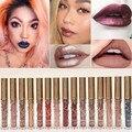 2016 pigmento de color nude de moda de terciopelo de oro metálico líquido lápiz labial mate impermeable líquido brillo de labios cosméticos kyli