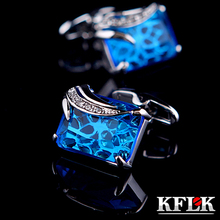 KFLK Jewelry shirt cufflinks for mens Gift Fashion Luxury Wedding Brand Blue Cuff link Novelty Button High Quality Free Shipping