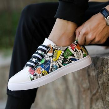 Zapatos Unisex a la moda con estampado de grafiti, calzado vulcanizado para estudiantes, zapatos blancos informales para primavera y otoño, zapato de adultos
