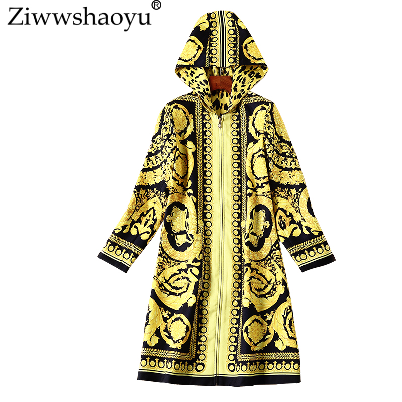 Ziwwshaoyu Europe And The United States  Autumn New New Hooded Trench Coat Vintage O-Neck Totem Print Fashion Hooded Trench Coat