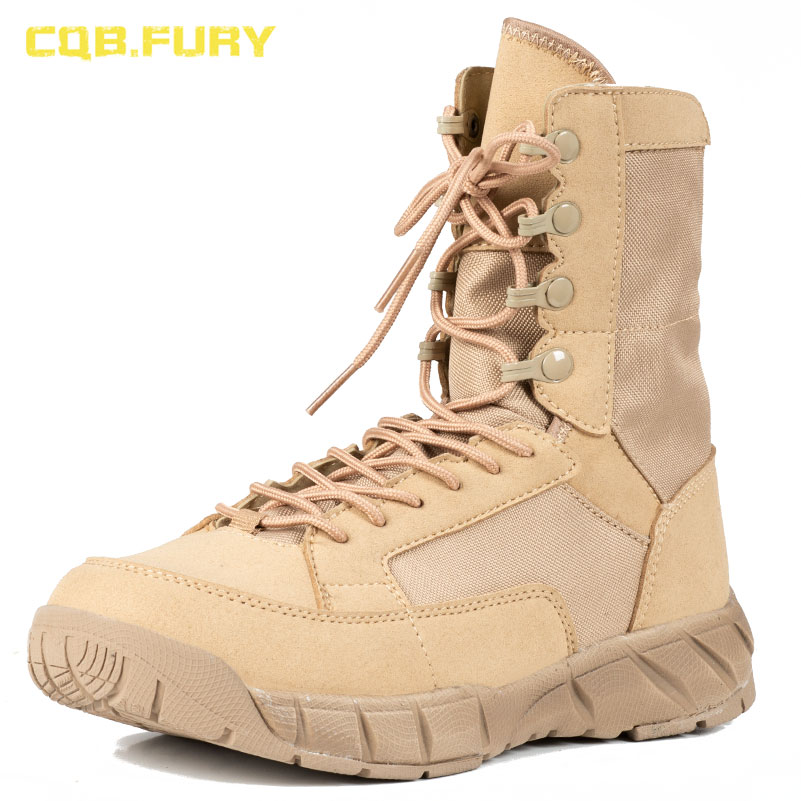CQB FURY Autumn Unisex Military desert and black boots Sand tactical new design cow suede lace