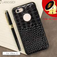 LANGSIDI For IPhone X 10 Case Real Calf Leather Back Cover Crocodile Texture Case To Send