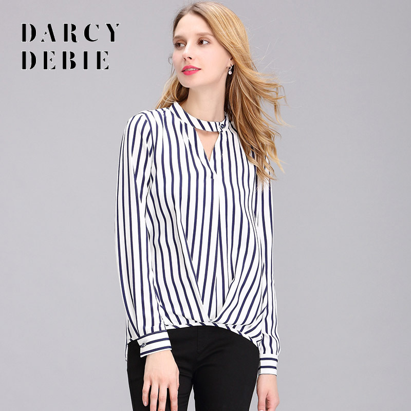 Darcydebie Stripe long sleeve shirt font b women b font chiffon in Europe and the loose