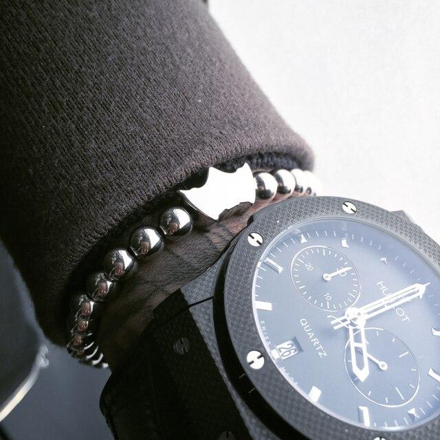 2017 Pulseira Men Bracelets,Famous Brand Bracelets, Batman & 6mm Round Bead Braiding Bracelet For Party Gift Bracelets Men Women