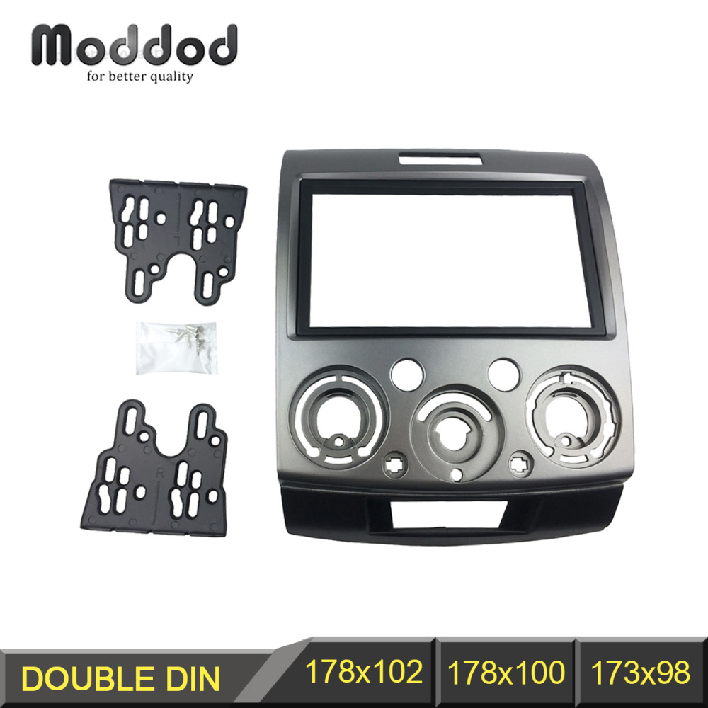 Radio Stereo Panel för Ford Everest Ranger Mazda BT-50 BT50 Double 2 Din Fascia Dash Installation Trim Kit Face Plate Bezel