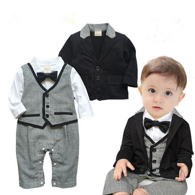 87a412cec17 2 PCS Baby Sets Baby Boy Clothes Gentleman Black Coat + White Black Lattice  Rompers Clothing Set Newborn Wedding Suit V30