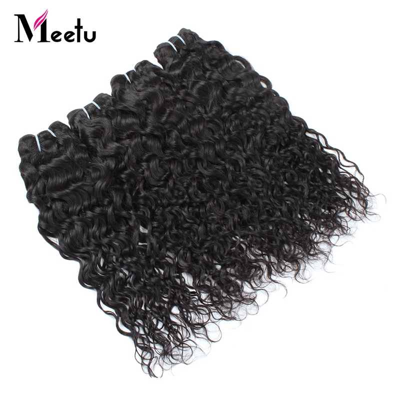 Meetu Peruvian Water Wave Human Hair Weave Bundles 1pc Natural Black Non Remy Hair Extensions Full Head Need 3 Or 4 Bundles