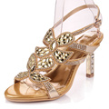 Party Sandals Women Rhinestone Flowers High Heel Shoes Roman Diamond Crystal High-heeled Leather Pumps Large Size10
