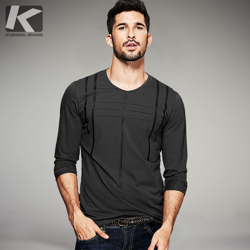 KUEGOU Autumn Mens T Shirts Striped Gray Green Black Brand Cs