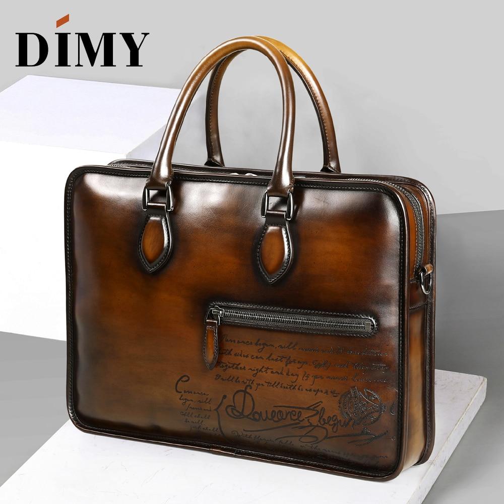 DIMY Dutch Calfskin Genuine Leather Briefcase Men Bag Hand Patina Business Briefcases 15 Luxury Bags Designer Shoulder Bag 2019