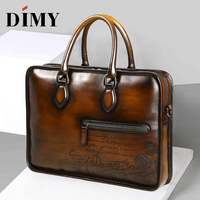 DIMY Dutch Calfskin Genuine Leather Briefcase Men Bag Hand Patina Business Briefcases 15 Luxury Bags Designer Shoulder Bag 2019