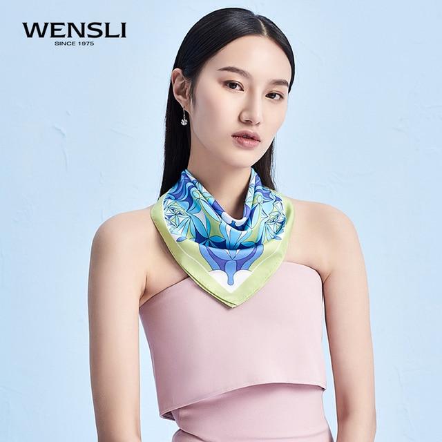 260808c30 WENSLI Luxury 100% Twill Silk Scarf Bandana Women Ladies Head Neck Small  Scarves Foulard Fular Cachecol Bufand Persimmon Bloom