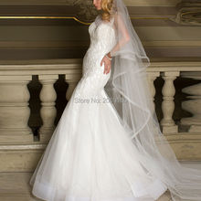 Luxury Islamic White Pearls Lace Mermaid Wedding Dresses 2017 High Quality Women Arabic Wedding Gowns Tulle Plus Size Bridal