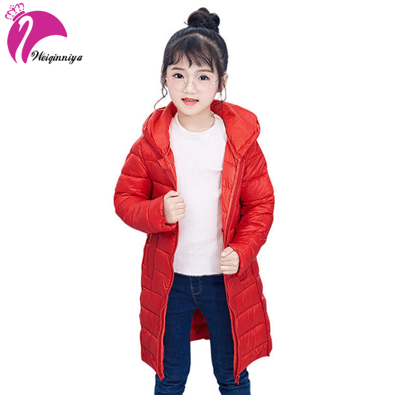 weiqinniya Girls Down Parkas Jackets Winter Kids Down Jacket For Girl Fashion Children Hooded Jackets For Girls Thick Parka Coat цена 2017