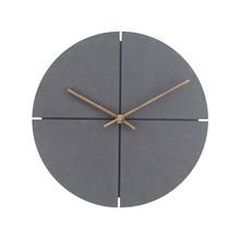 цена на 12 inch Wood Wall Clock Simple Modern Nordic Minimalist Clocks Artistic European Brief Wooden Wall Watch Home Decor Silent