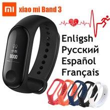 Оригинальный Xiaomi mi группа 3 Смарт-браслет Фитнес браслет mi Группа 3 большой Сенсорный экран OLED сообщение сердечного ритма время Smartband