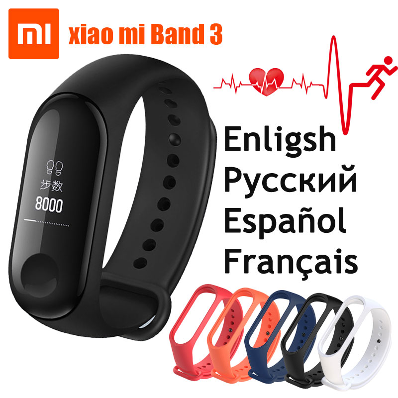 Originale Xiao mi mi fascia 3 Intelligente wristband Bracciale Fitness Mi Band 3 grande Touch screen Oled Messaggio Cuore tasso di Tempo Smartband