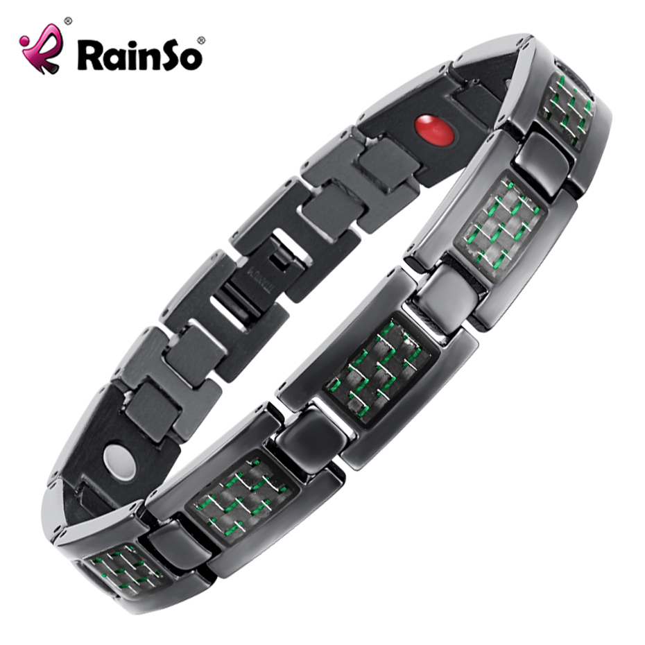 ba53d572e7dc6 US $14.99 45% OFF|RainSo Hologram Bracelets Bangles for Men Bio Energy  Healing Titanium Magnetic Bracelet Male Wristband Fashion Jewelry OTB  1271-in ...