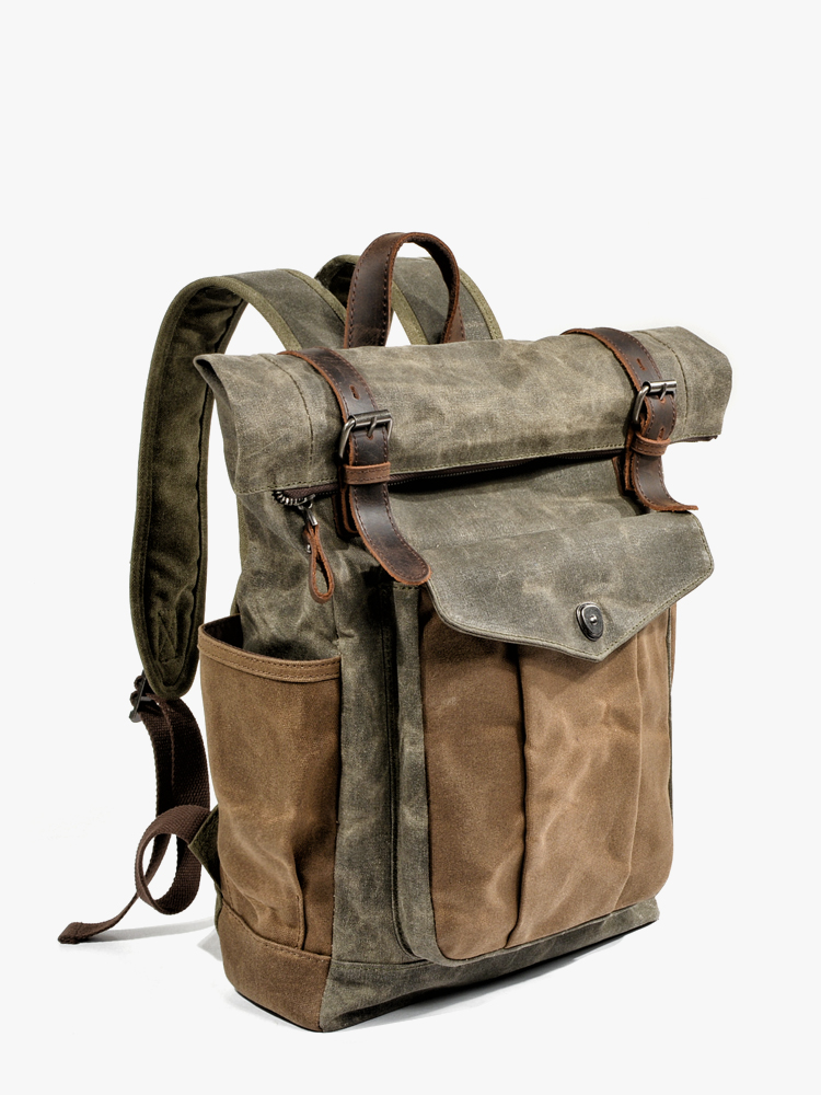 MUCHUAN Luxury Vintage Canvas Backpacks for Men Oil Wax Canvas Leather Travel Backpack Large Waterproof Daypacks Retro Bagpack