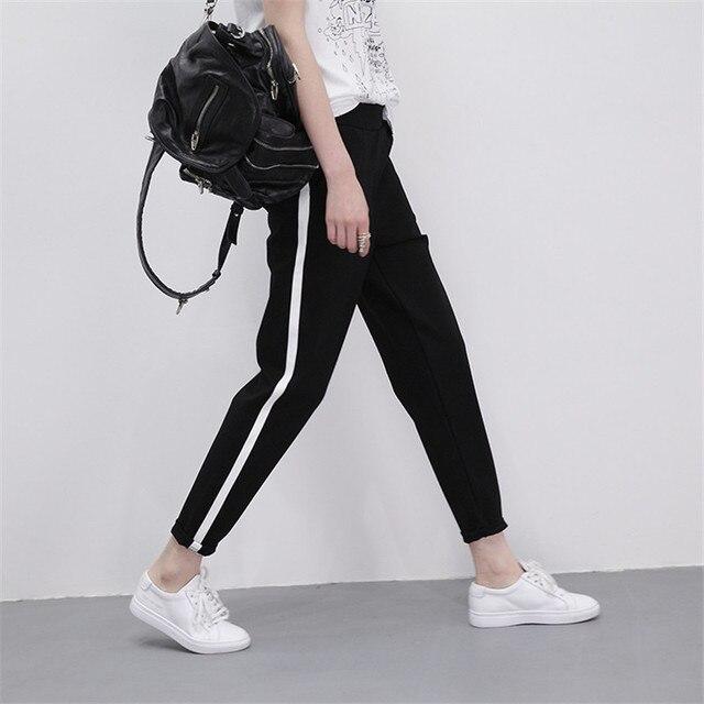 Спортивные штаны Для женщин брюки S-XXL черные свободные широкие штаны Женские Бег Брюки Полосатый эластичный пояс Для женщин плавки