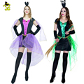2016 Customized Free Size Fashion  Green&Purple Lace Witch Sexy Cosplay Halloween Costumes For Party  Women