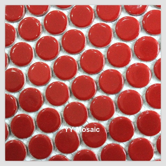 Glazed Shinny Red Ceramic Mosaic Wall Tile For Kitchen Bathroom