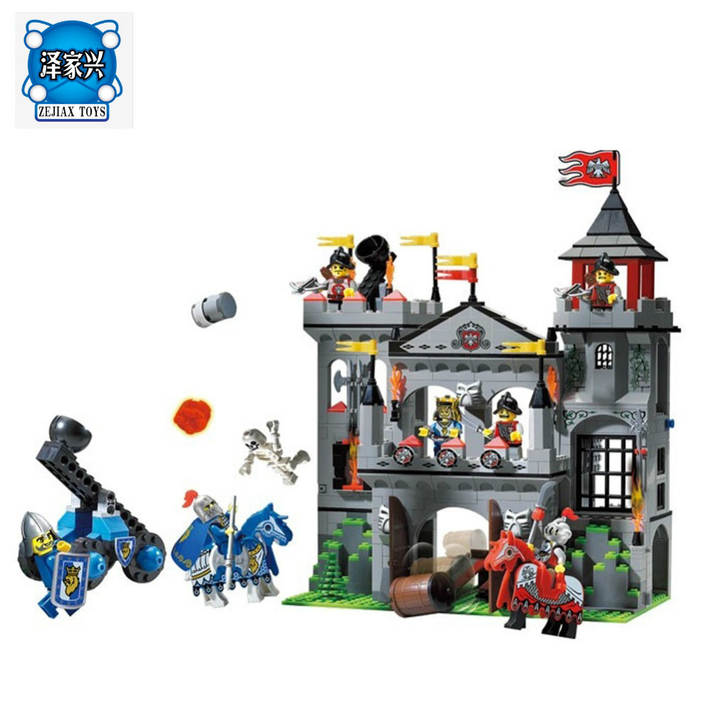 Enlighten Building Block Castle Knights Sliver Hawk Eagle Castle 7 Figures 568pcs Educational Bricks Boy Toys Compatible Lepins enlighten new 2315 656pcs war of glory castle knights the sliver hawk castle 6 figures building block brick toys for children