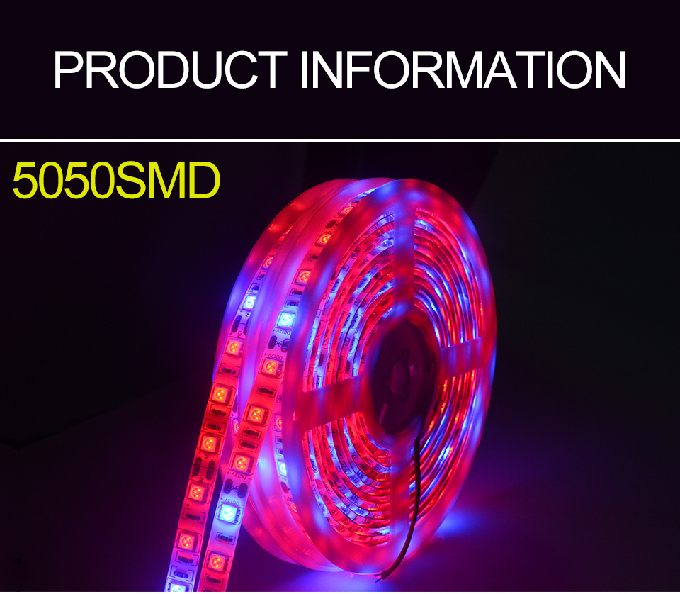 5M Led Plant grow light Waterproof SMD5050 Hydroponic Systems Led Grow Strip Light 300Leds Full spectrum (2)