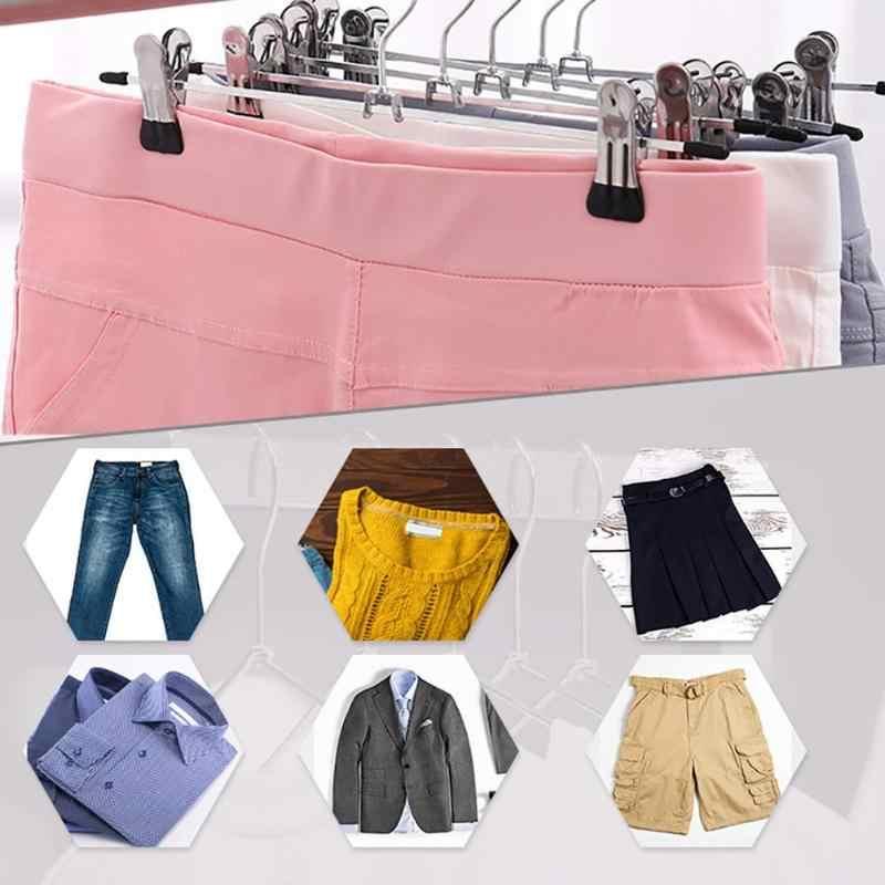 10Pcs Hangers Voor Kleding Roestvrijstalen Clip Stand Hanger Broek Rok Kid Kleding Verstelbare Pinch Grip Cabide Dropshipping