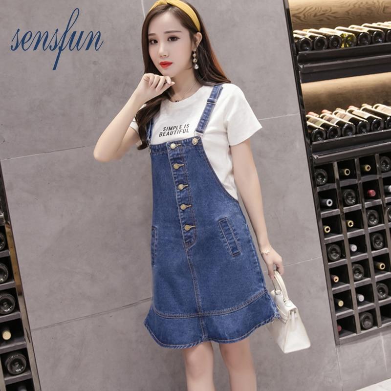 Sensfun women sweet blue denim belt skirts pockets faldas European style ladies mini skirts the edge of the butterfly plus size