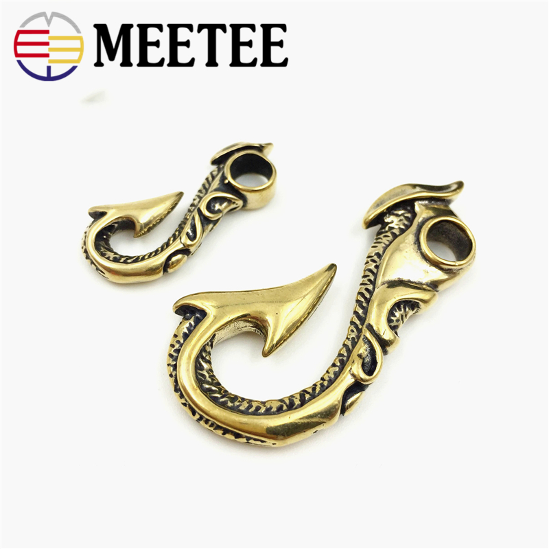 2pcs Meetee Solid Brass Hook Buckles S Shape Hook Clasp Keychain Buckle Handmade Bags Clothing Decor DIY Leather Craft