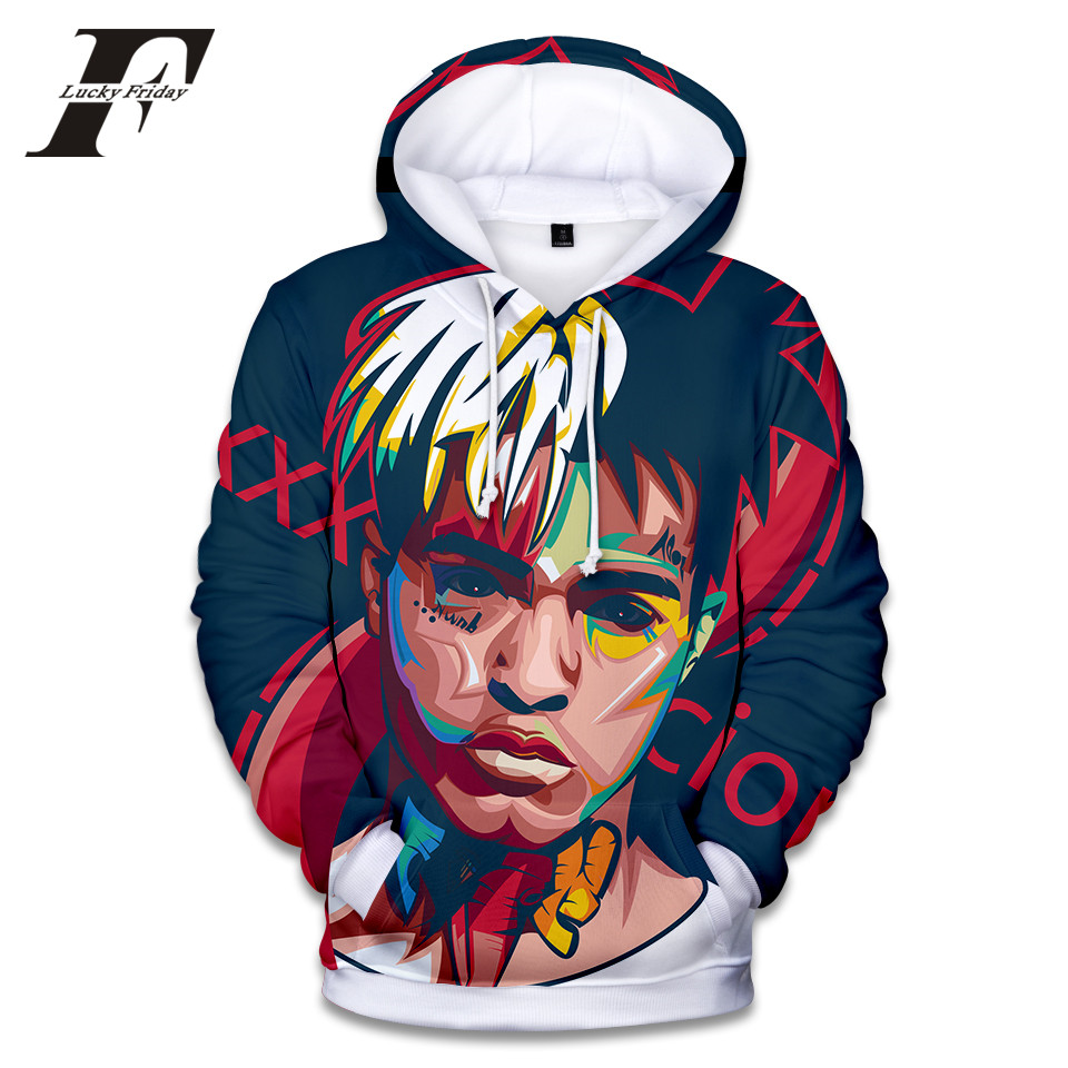 LUCKYFRIDAYF 2018 New XXXtentacion Fashion 3D Funny Hoodies Sweatshirt Print Women/Men DJ Hoodies Hip Hop Fashion Hoodies 4XL