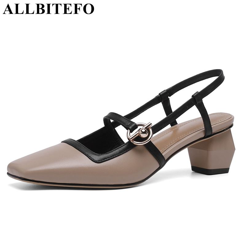 ALLBITEFO genuine leather women sandals high quality middle heel square heels office ladies summer shoes woman