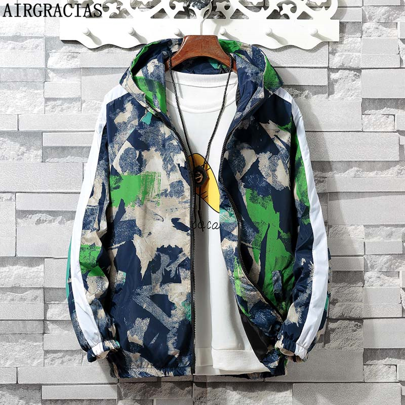 AIRGRACIAS 2019 New Autumn Jacket Men Fashion Camouflage Outerwear Windbreaker Men' s Thin Jackets Hooded Casual Sporting Coat(China)
