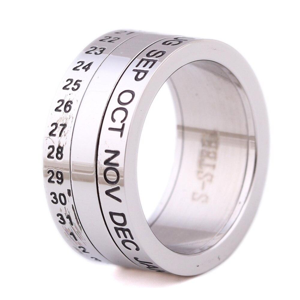 Номер и месяц письмо поворотный кольца для мужчин anillos титана из нержавеющей стали Punk Party Кольцо ювелирные изделия