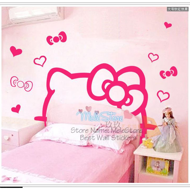kids bedroom for girls hello kitty. Cute Cartoon Hello Kitty DIY Wall Sticker TV Bed Background Kids Room Decor Home Bedroom For Girls