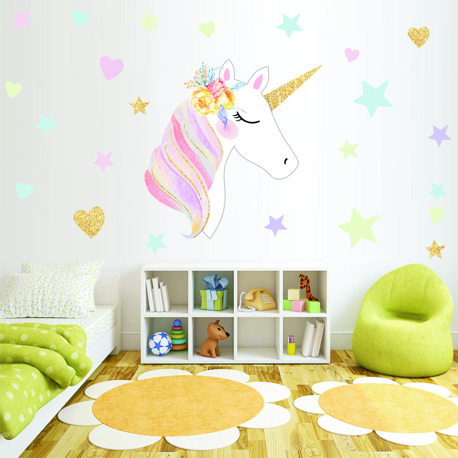 Magic Cartoon Unicorn Stars Wall Stickers Removable Colorful Animals Horse Decals For Kids Room Diy Wallpaper Home Decor