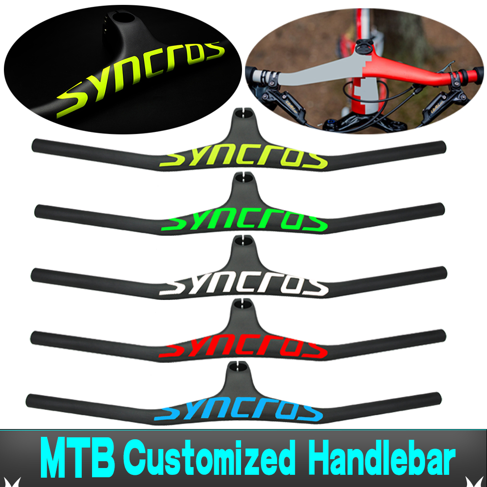 Syn Custom Champion MTB Bicycle Handlebar / Riser -17 Degree One-shaped Integrated Handlebar 3K Gloss Or Matte Carbon Fiber Avi