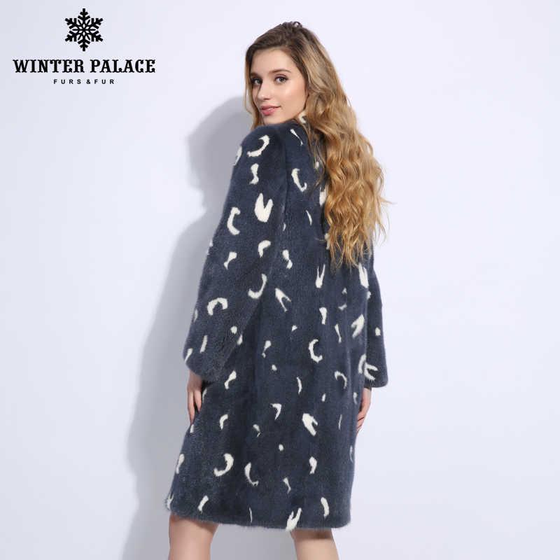 Синее перо узор Новый норки пальто с мехом импортные бархат класса Норковые Шубы Длинные зимние пальто с мехом