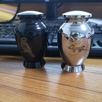 KLH01 High Polished Stainless Steel Funeral Ashes Keepsake Urn,Eagle and Lizard Engraved Cremation Mini Pets Urn