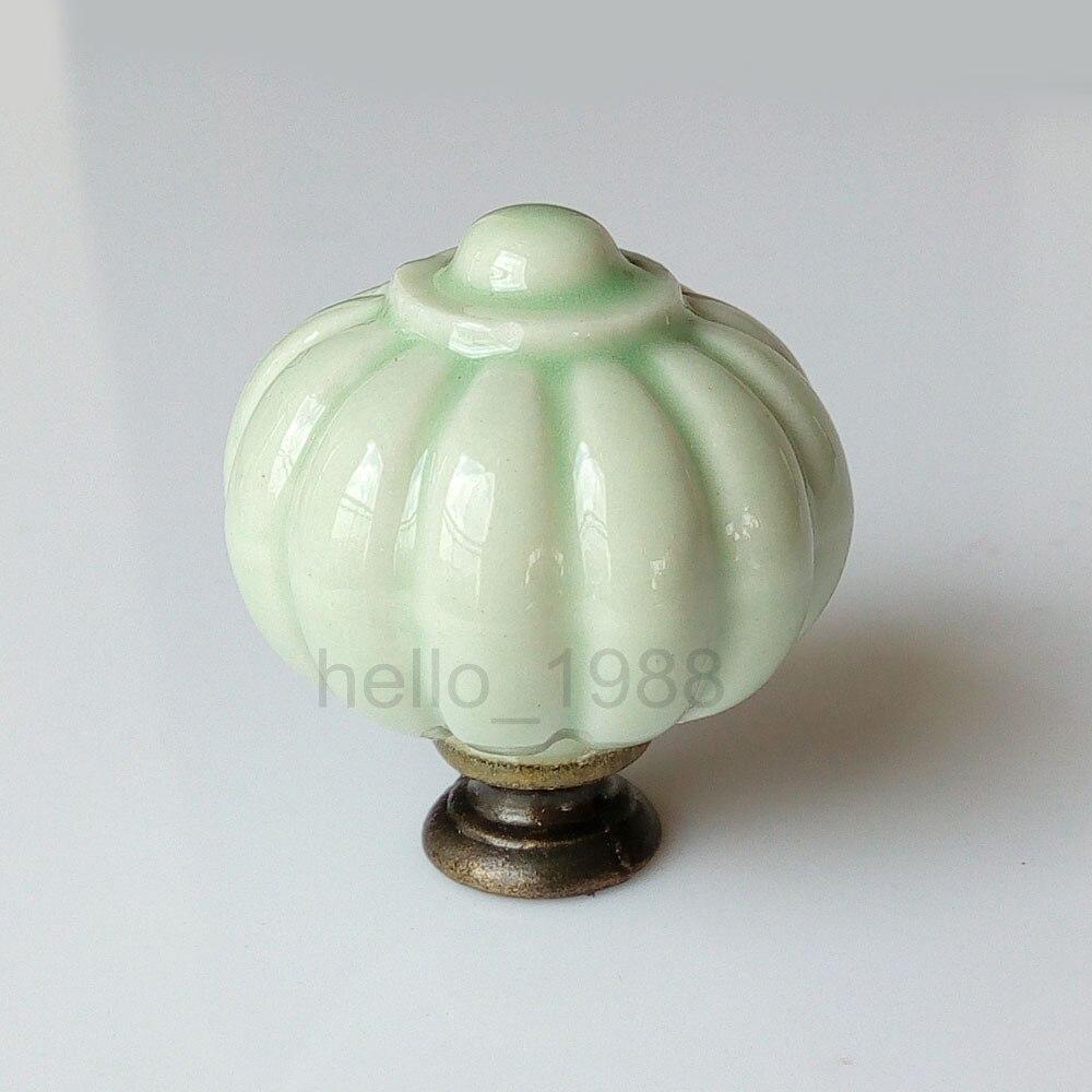 Cute Light Green Kitchen Pumpkin Ceramic Knob Cabinet Cupboard Dresser Handle Drawer Pull  Kid's Knob Furniture Closet Knob