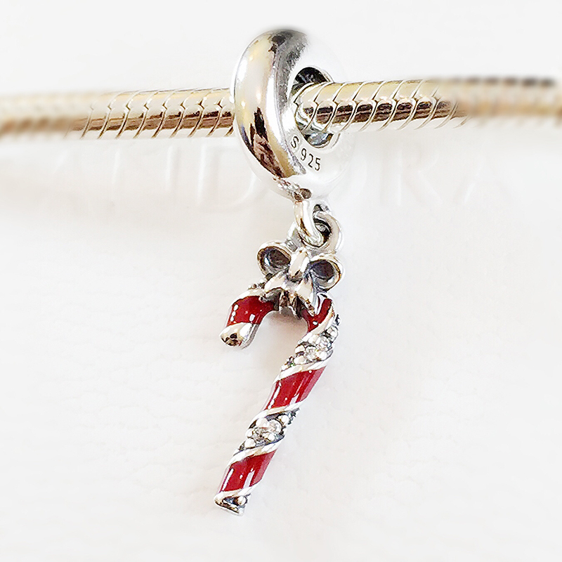New 925 Sterling Silver Sparkling Candy Cane Pendant Charm Bead Fits Pandora Charm Bracelet