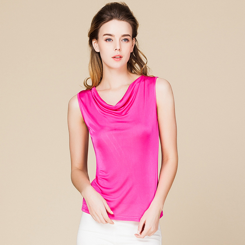 Summer Women 100% Real Silk   Tank     Tops   Casual Knitted Shirts Comfortable Breathable Loose T-shirts
