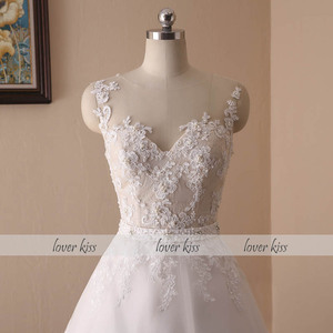 Image 4 - Lover Kiss Vestido De Noiva 2020 Ball Gown Wedding Dress Lace Pearls Sleeveless O Neck Sashes Real Bridal Gowns Bride Dress