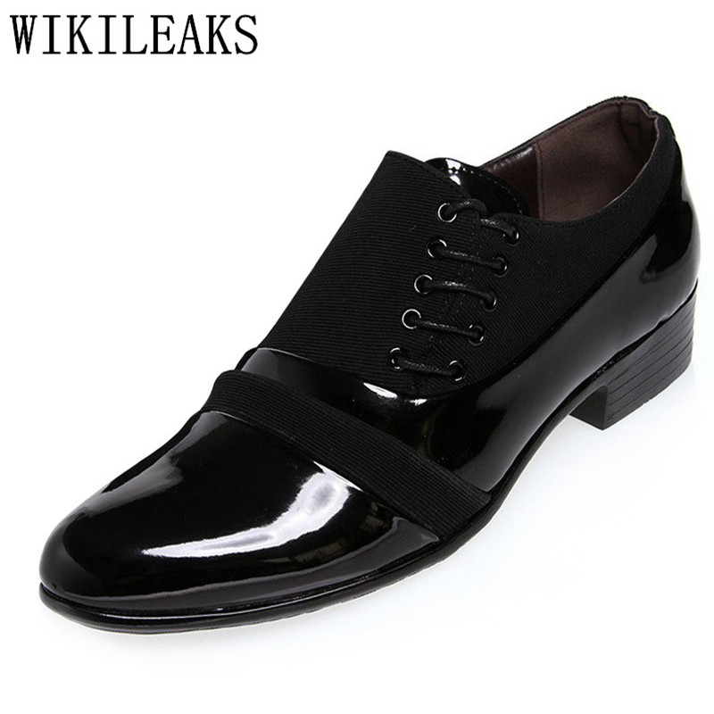2018 high quality oxfords shoes for men office dress shoes patent leather lace-up black wedding shoes man italy zapatos hombre