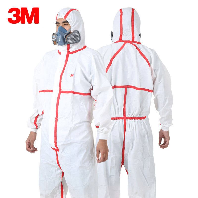 3M 4565 Disposable Chemical Protective Coverall Safety Clothing Breathable Work Wear Med ...