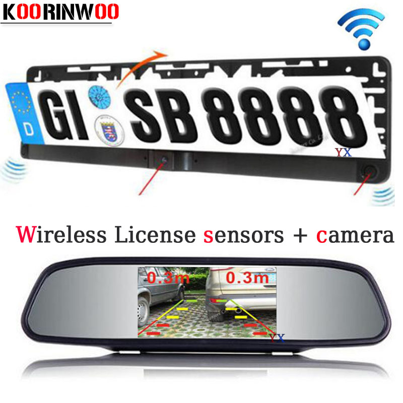 Koorinwoo HD CCD License Plate Car Parking Sensor Radars ParktronicCar Rear View camera with Mirror Monitor Video parking System dual core cpu car parking sensors 4 radars hd car monitor bluetooth mp5 4 fm auto rear view camera parktronic parking system