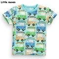 Little maven crianças marca de roupas de verão 2017 meninos roupas de bebê carro de impressão camiseta de algodão da marca t tops 50723