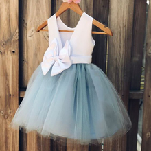 Smileven Blue Cheap Flower Girl Dress 2019  Princess A Line Kids Toddler First Communion with Bow Party